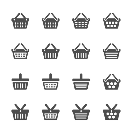 online logo: shopping basket icon set, vector eps10.