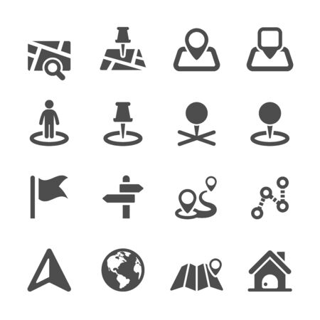 distance marker: map icon set 2, vector .