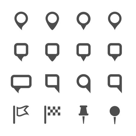 map pin icon set, vector