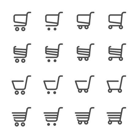 supermarket cart: shopping cart icon set, line version, vector  Illustration