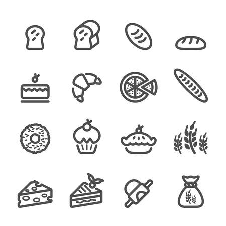 rolling bag: bakery icon set, line version, vector eps10. Illustration