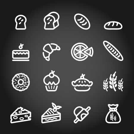 bakery icon set, chalkboard version, vector  Vector