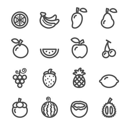fruit icon set, line version, vector  Vettoriali