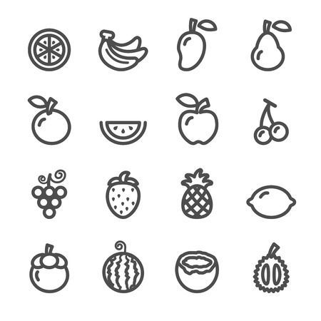 fruit icon set, line version, vector  Illustration