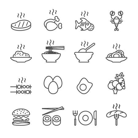 food icon set, line version, vector eps10. Illustration