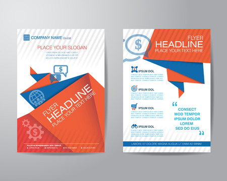 Abstract triangle brochure flyer design layout template in A4 size, vector  イラスト・ベクター素材