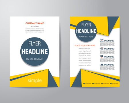 at yellow: Simple triangle and circle brochure flyer design layout template in A4 size, vector eps10.