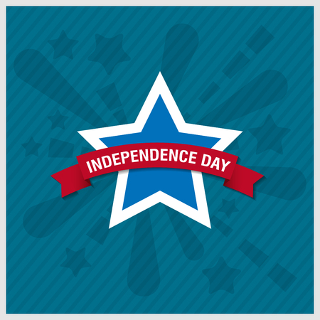 ribbin: Happy independence day star card with firework, vector  Illustration