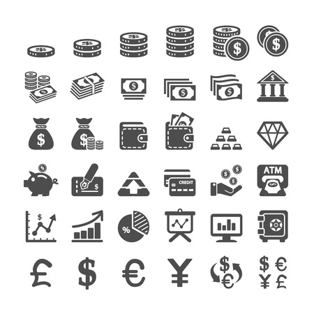 business finance and money icon set, vector eps10. 向量圖像