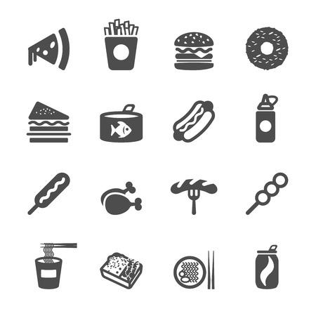 merienda: icono de la comida rápida set, vector