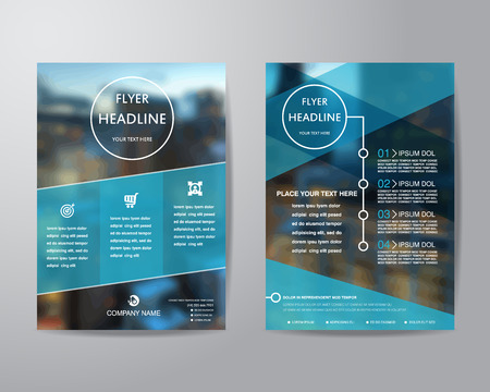 blue prints: business brochure flyer design layout template in A4 size, with blur background, vector eps10.