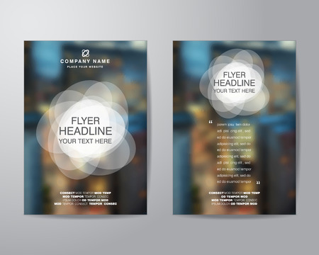 bleed: white circle and blur background brochure flyer design layout template in A4 size, with bleed, vector eps10.