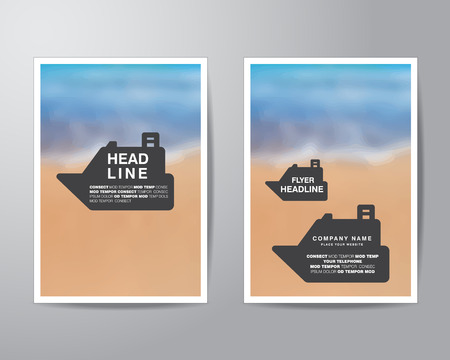 sangrar: boat banner and blur background brochure flyer design layout template in A4 size, with bleed, vector eps10.