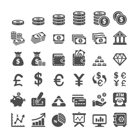 bank note: business icon set, vector