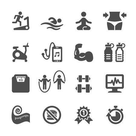 Aptitud conjunto de iconos, vector eps10. Foto de archivo - 42135977