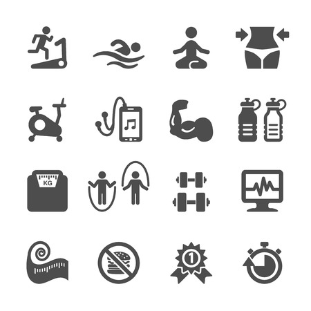 aerobics: aptitud conjunto de iconos, vector eps10. Vectores