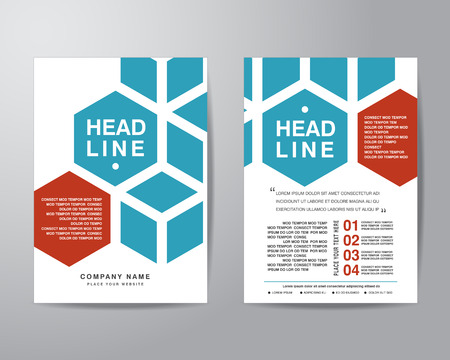 business flyer: Hexagonal brochure flyer design layout template in A4 size, with bleed, vector eps10. Illustration