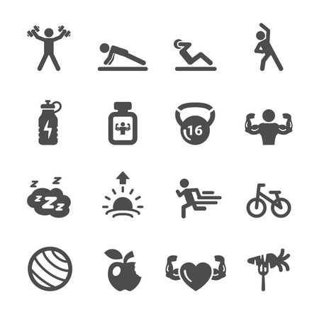 strength training: fitness icon set 2, vector  Illustration