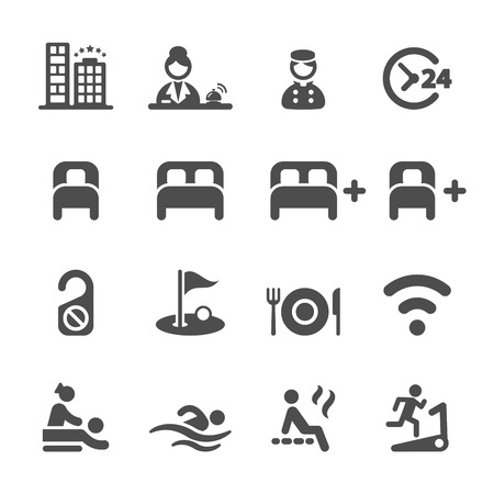 hotel service icon set Illustration