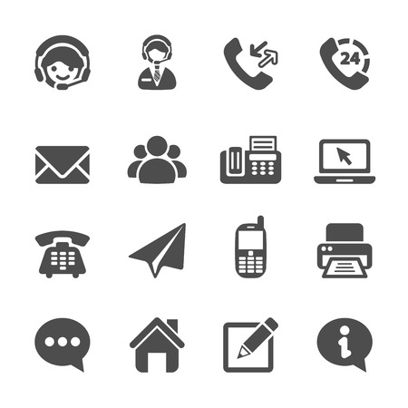 contact information: contact us icon set