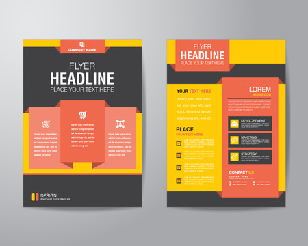 corporate brochure flyer design layout template in A4 size, with bleed  Vectores