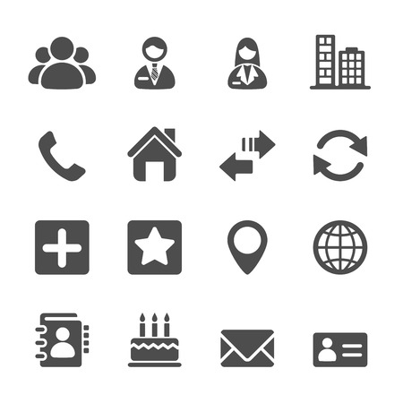 contact icon set, vector eps10. Ilustracja