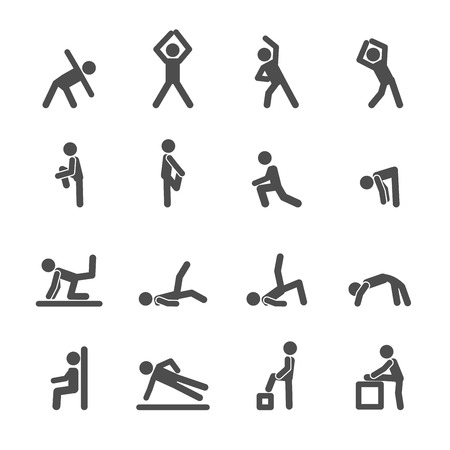 people exercise in fitness icon set, vector eps10. Иллюстрация