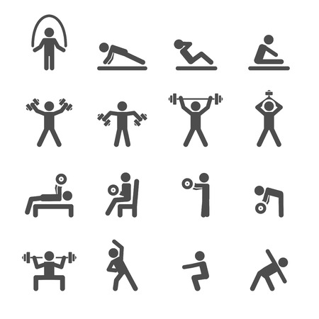 pilates: people exercise in fitness icon set, vector .
