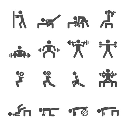 abdominal wall: people exercise in fitness icon set, vector .