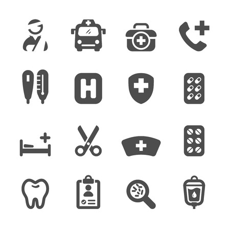 sickbed: medical icon set 3, vector