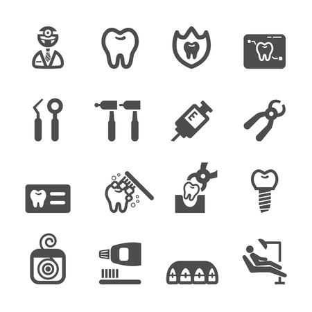medical tools: dentist icon set, vector eps10. Illustration