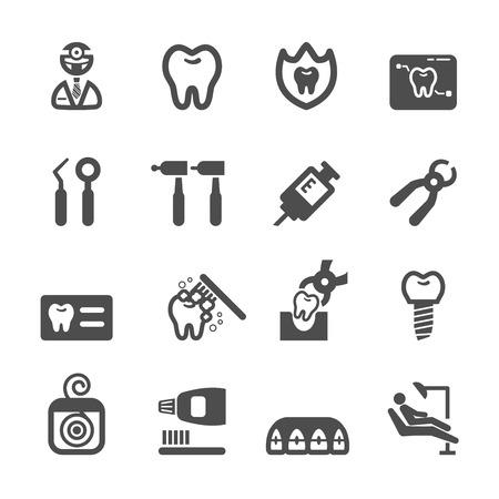 dentista: dentista conjunto de iconos, vector eps10.