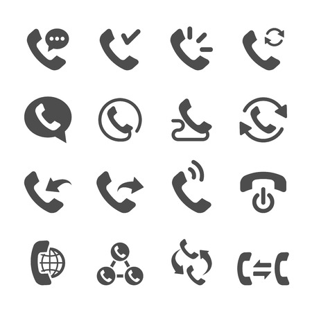 telephone line: telephone call icon set 2, vector eps10. Illustration