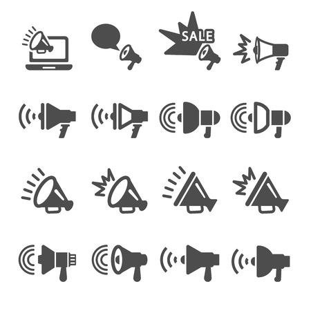 megafono in azione set di icone, vettore eps10.