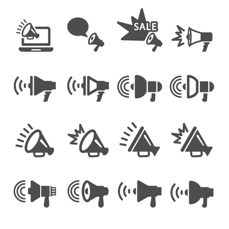 pr: megaphone in action icon set, vector eps10.