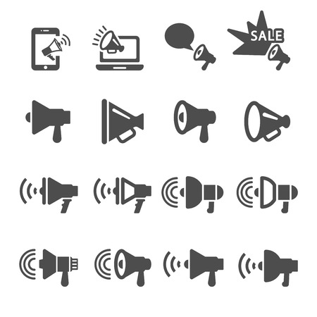 loud speaker: megaphone in action icon set 2,