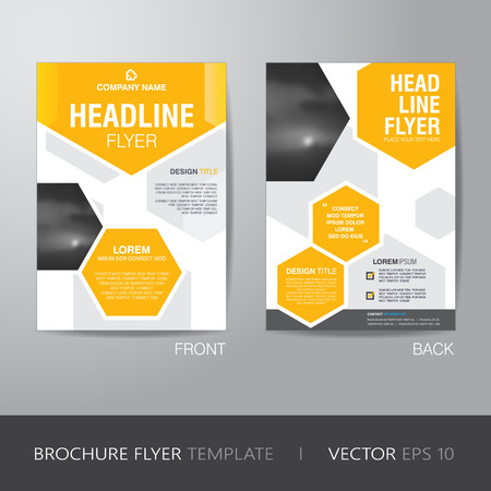 headline: corporate hexagonal brochure flyer design layout template in A4 size, with bleed, Illustration
