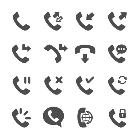 miss call: telephone call icon set 3