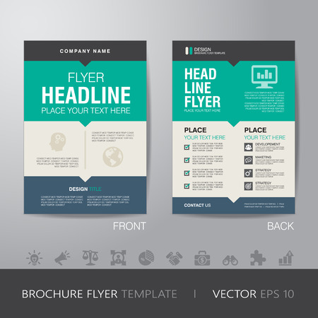 Flyer folleto plantilla corporativa diseño de diseño de tamaño A4, con sangrado, vector eps10. Foto de archivo - 43417177