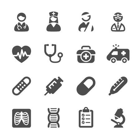 historia clinica: conjunto de m�dicos icono  Vectores