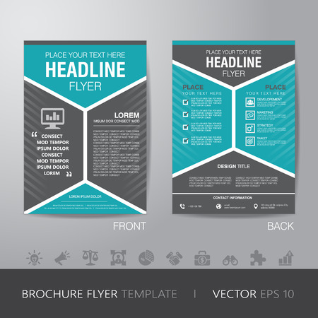 corporate hexagonal brochure flyer design layout template in A4 size, with bleed