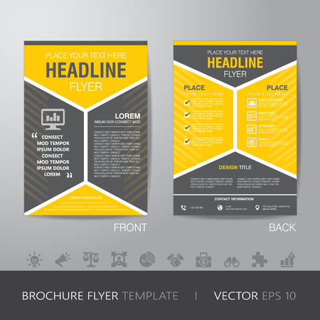 yellow pages: corporate hexagonal brochure flyer design layout template in A4 size, with bleed Illustration