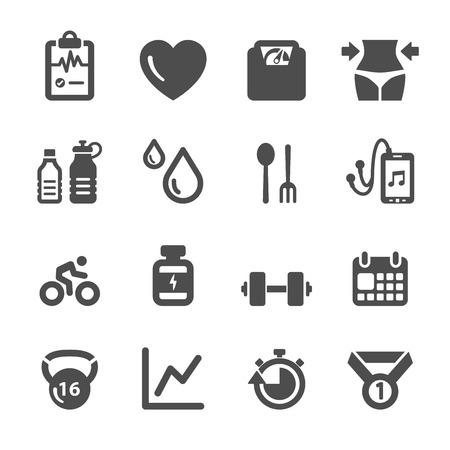 healthy exercise: healthy and fitness icon set