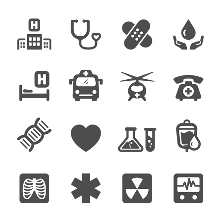 heart ecg trace: medical and hospital icon set 7