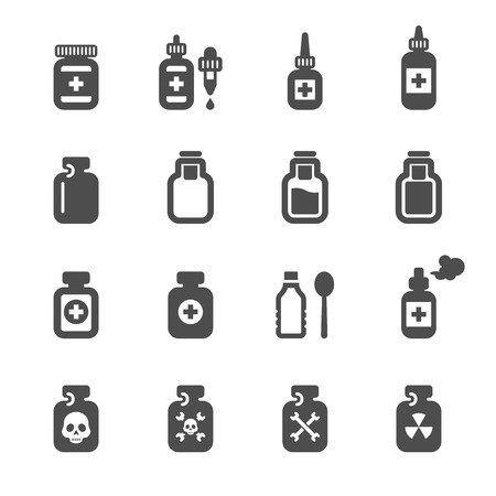 pill bottle: medical pill bottle icon set  Illustration