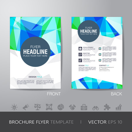 bleed: polygon brochure flyer design layout template in A4 size, with bleed