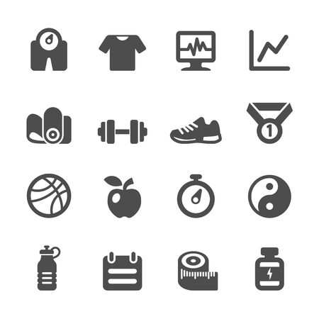 fitness icon: healthy and fitness icon set