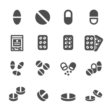 packs of pills: pill icon set