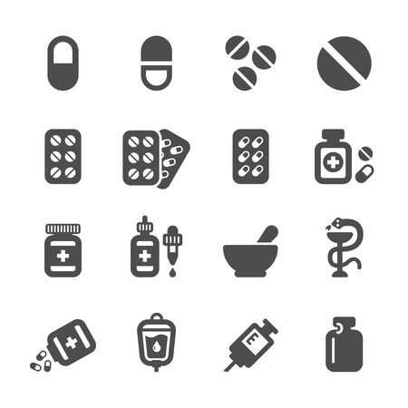 pharmacy icon: pharmacy and pill icon set