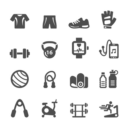 fitness woman: healthy fitness equipment icon set, vector Illustration